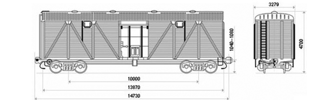 4-осный крытый вагон модели 11-06 для перевозки