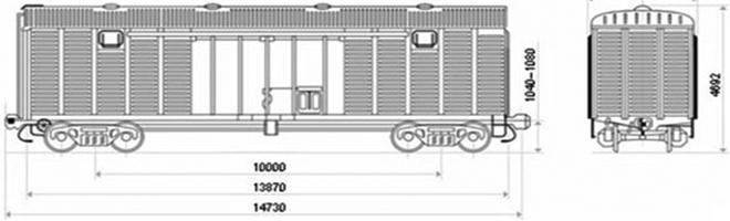 4-осный крытый вагон модели 11-217