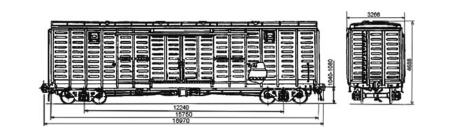 4-осный крытый вагон модели 11-260