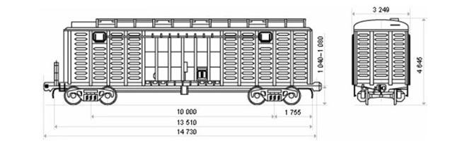 4-осный крытый вагон модели 11-264