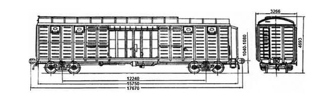 4-осный крытый вагон модели 11-280